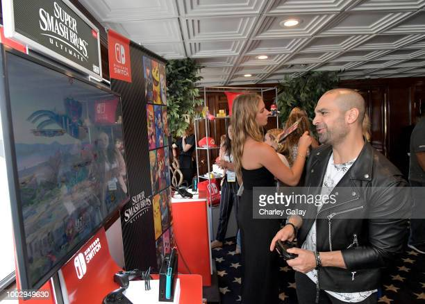 Michael Mando tests his skills on Super Smash Bros Ultimate for Nintendo Switch at the Variety Studio at ComicCon 2018 on July 20 2018 in San Diego CA