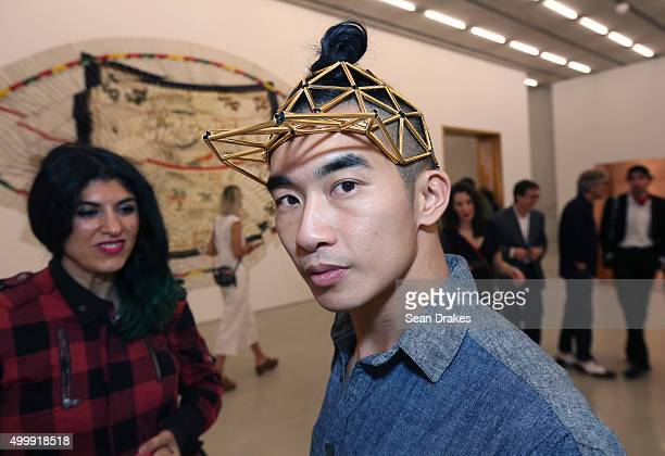 Michael Manh displays stylish headwear at Perez Art Museum Miami during Art Basel Miami Beach in Miami Florida on Thursday December 3 2015