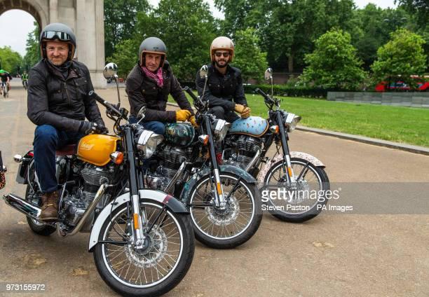 Michael Mann riding the Belstaff bike Simon de Burton riding the House of Hackney bike and Tommy Clarke riding the Luke EdwardHall Saloni bike part...