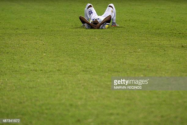 Michael Maria of the National football Team of Curazao complains at the Cuscatlan Stadium in San Salvador on September 8 in the return match of World...