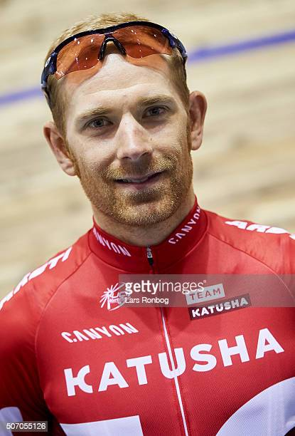 Michael Markov of Team Katyusha poses for a head shot during the Copenhagen 6 Days press conference at Ballerup Super Arena on January 27 2016 in...