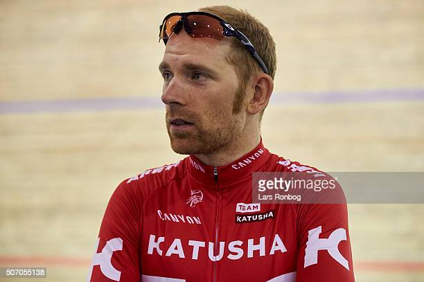 Michael Markov of Team Katyusha speaks to the media during the Copenhagen 6 Days press conference at Ballerup Super Arena on January 27 2016 in...