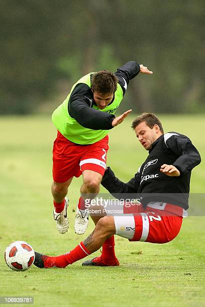 Michael Marrone and Nick Kalmar contest the ball during a Melbourne Heart ALeague training session at La Trobe University Sports Fields on November...