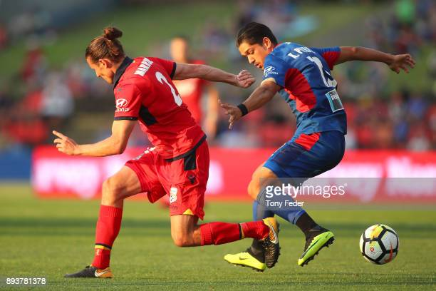 Michael Marrone of Adelaide and Kosta Petratos of the Jets contest the ball during the round 11 ALeague match between the Newcastle Jets and the...