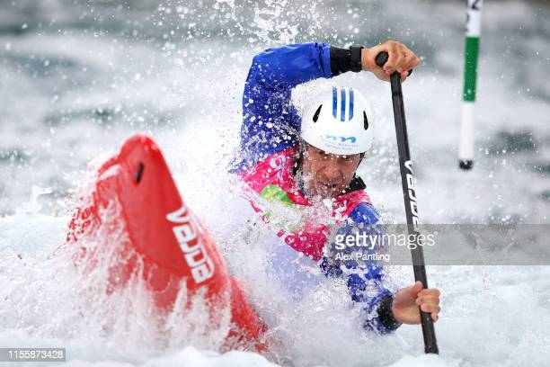 Michael Martikan of Slovakia competes in the Men's C1 heats during the 2019 ICF Canoe Slalom World Cup at Lee Valley White Water Centre on June 14...