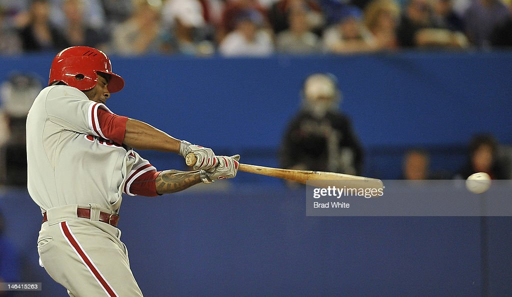 Michael Martinez #7 of the Philadelphia Phillies bats during interleague MLB game action against the Toronto Blue Jays June 15, 2012 at Rogers Centre in Toronto, Ontario, Canada.
