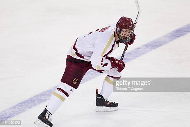Michael Matheson of the Boston College Eagles skates up ice during NCAA hockey action against the New Hampshire Wildcats at Kelley Rink on December...