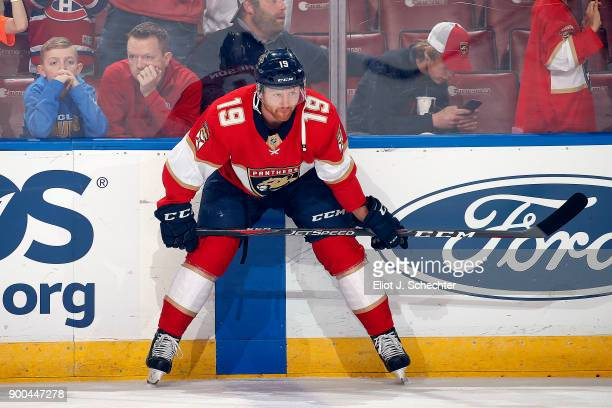 Michael Matheson of the Florida Panthers stretches on the ice while fans watch warm ups against the Montreal Canadiens at the BBT Center on December...