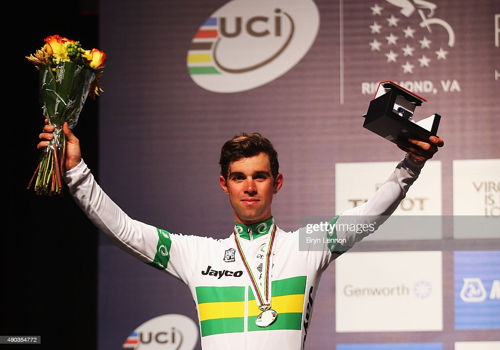 Michael Mathews of Australia stands on the podium after finishing second in the Elite Men World Road Race Championship on day eight of the UCI Road World Championships on September 27, 2015 in Richmond, Virginia.