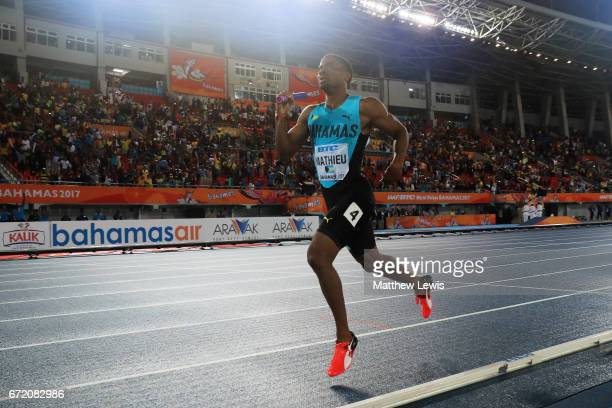Michael Mathieu of the Bahamas crosses the finishline to win the Mixed 4x400 Metres Relay Final during the IAAF/BTC World Relays Bahamas 2017 at...