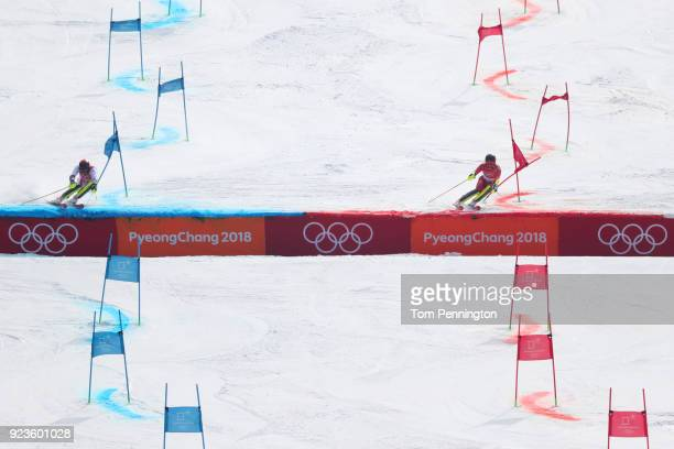 Michael Matt of Austria and Leif Kristian Nestvold-Haugen of Norway compete during the Alpine Team Event Semifinals on day 15 of the PyeongChang 2018...
