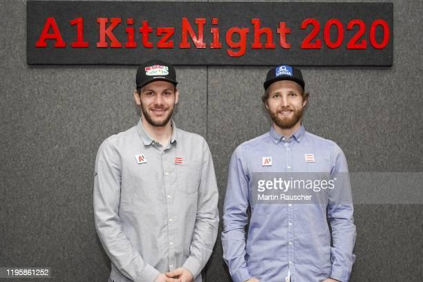 Michael Matt of Austria and Marco Schwarz of Austria on the A1 Kitz Night 2020 on the Audi FIS alpine ski world cup on January 24 2020 in Kitzbuehel...