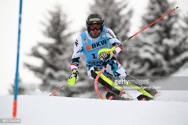 Michael Matt of Austria competes during the Audi FIS Alpine Ski World Cup Men's Slalom on January 15 2017 in Wengen Switzerland