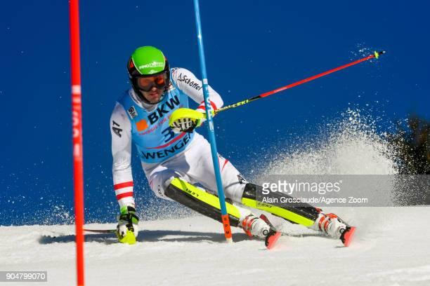 Michael Matt of Austria competes during the Audi FIS Alpine Ski World Cup Men's Slalom on January 14 2018 in Wengen Switzerland