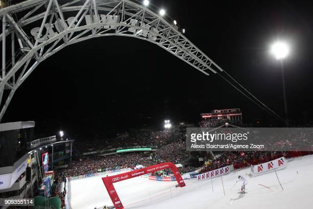 Michael Matt of Austria competes during the Audi FIS Alpine Ski World Cup Men's Slalom on January 23, 2018 in Schladming, Austria.