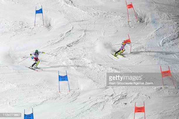 Michael Matt of Austria Daniel Yule of Switzerland compete during the FIS World Ski Championships Alpine Team Event on February 12 2019 in Are Sweden