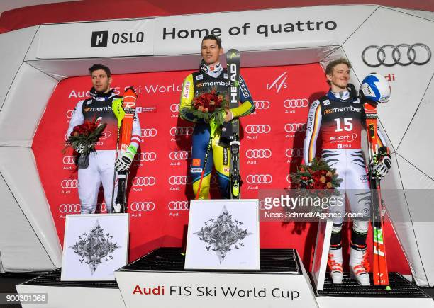 Michael Matt of Austria takes 2nd place Andre Myhrer of Sweden takes 1st place Linus Strasser of Germany takes 3rd place during the Audi FIS Alpine...