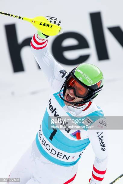 Michael Matt of Austria takes 2nd place during the Audi FIS Alpine Ski World Cup Men's Slalom on January 7 2018 in Adelboden Switzerland