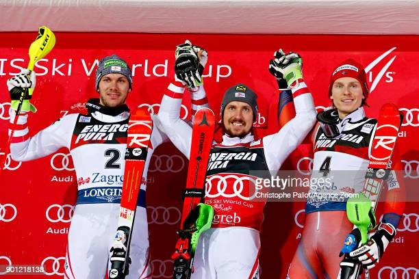 Michael Matt of Austria takes 2nd place Marcel Hirscher of Austria takes 1st place Henrik Kristoffersen of Norway takes 3rd place during the Audi FIS...