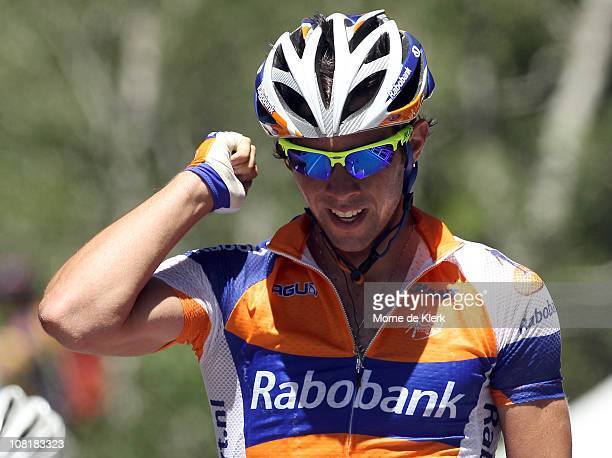 Michael Matthews of Australia and team Rabobank celebrates as he crosses the line to win Stage Three of the 2011 Tour Down Under on January 20, 2011...
