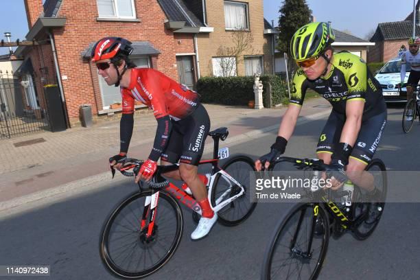 Michael Matthews of Australia and Team Sunweb / Christopher Juul Jensen of Denmark and Team MitcheltonScott / during the 103rd Tour of Flanders 2019...