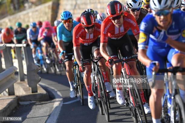 Michael Matthews of Australia and Team Sunweb / Tom Dumoulin of The Netherlands and Team Sunweb / Peloton / Poggio di San Sanremo / during the 110th...