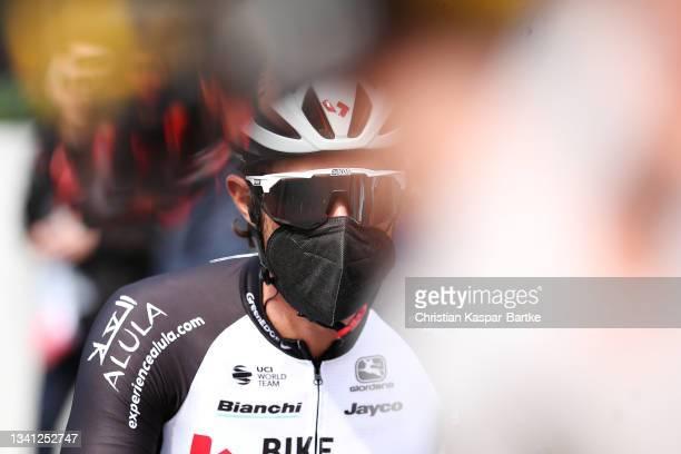 Michael Matthews of Australia and Team Team BikeExchange prior to the 60th Eschborn-Frankfurt 'Rund um den Finanzplatz' 2021 a 187,4km race from...
