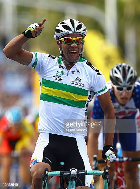 Michael Matthews of Australia celebrates as he crosses the line to win the Men's Under 23 Road Race on day three of the UCI Road World Championships...