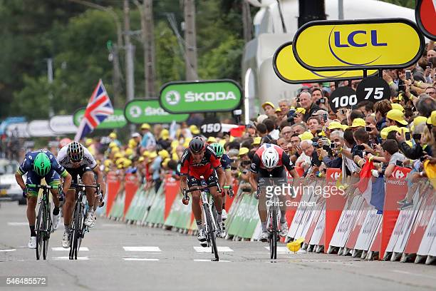 Michael Matthews of Australia riding for OricaBikeExchange wins the sprint in stage ten of the 2016 Le Tour de Frane a 197km stage from...
