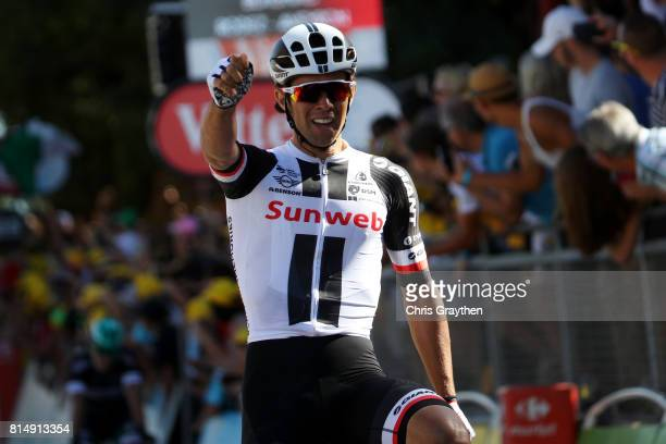 Michael Matthews of Australia riding for Team Sunweb celebrates as he wins stage 14 of the 2017 Le Tour de France a 1815km stage from Blagnac to...