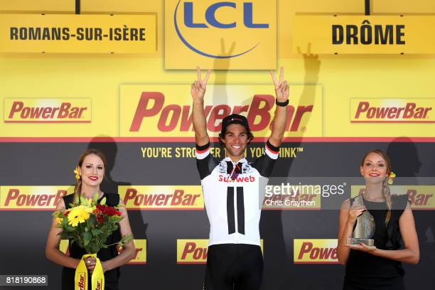 Michael Matthews of Australia riding for Team Sunweb celebrates on the podium after winning stage 16 of the 2017 Le Tour de France a 165km stage from...