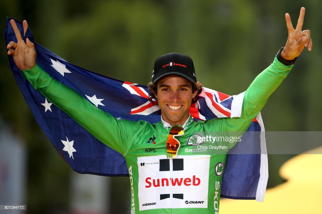 Michael Matthews of Australia riding for Team Sunweb celebrates on the podium after winning the green points jersey of the 2017 Le Tour de France, on July 23, 2017 in Paris, France.