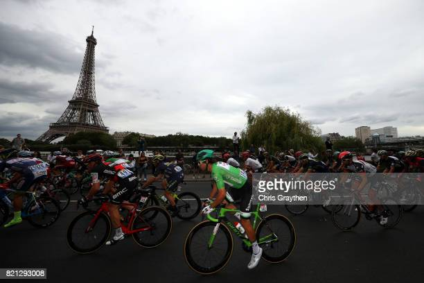Michael Matthews of Australia riding for Team Sunweb in the green points jersey rides past the Eiffel Tower during stage 21 of the 2017 Le Tour de...