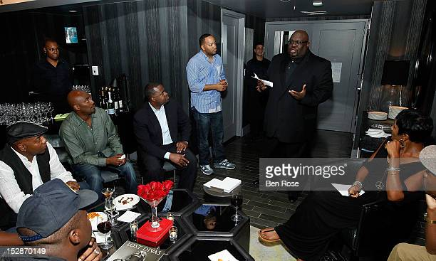Michael Mauldin Clay Evans Kasim Reed Jason Geter Reggie Rouse and Terry Vaughn attend an exclusive Power Players Dinner hosted by GREY GOOSE Cherry...