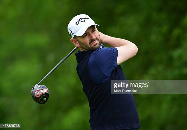 Michael McAllen of Elgin Golf Club on the 16th tee during the Lombard Trophy - Scottish Qualifier at Crieff Golf Club on June 16, 2015 in Crieff,...