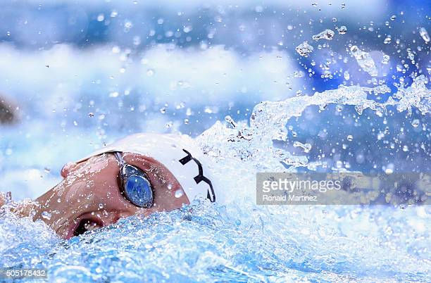 Michael McBroom swims in the Men's 400 meter freestyle during the Arena Pro Swim Series at Austin on January 15 2016 in Austin Texas
