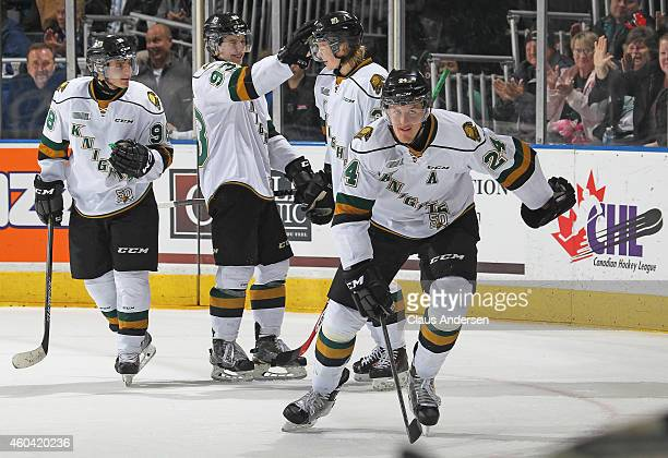 Michael McCarron of the London Knights is all smiles after setting up teammate Julius Bergman for a long empty net goal against the Plymouth Whalers...