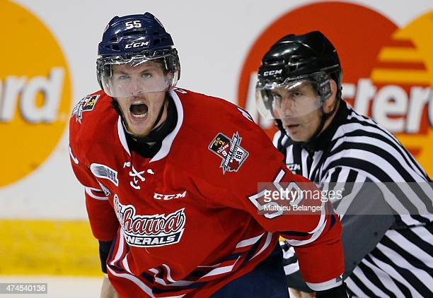 Michael McCarron of the Oshawa Generals screams after his fight against Samuel Morin of the Rimouski Oceanics during the second period of Game Two of...