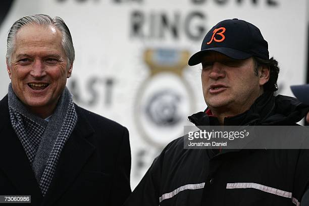 Michael McCaskey and James Belushi looks on before the NFC Championship Game between the Chicago Bears and the New Orleans Saints on January 21 2007...