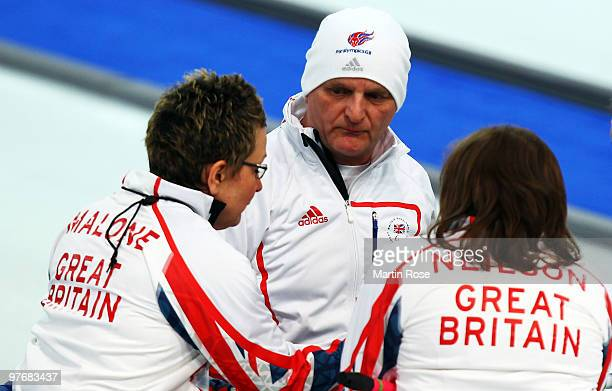 Michael McCreadie of Great Britain speaks to his team mates during the Wheelchair Curling Round Robin game between Norway and Great Britain on day...