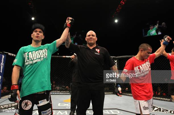 Michael McDonald is announced the winner by split decision over Chris Cariaso during their bantamweight fight at UFC 130 at the MGM Grand Garden...