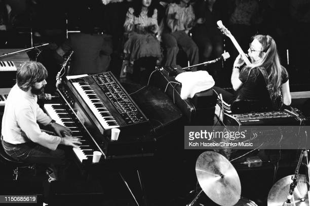 Michael McDonald Jeff 'Skunk' Baxter of The Doobie Brothers performing on stage at Nippon Budokan Tokyo Japan February 1979