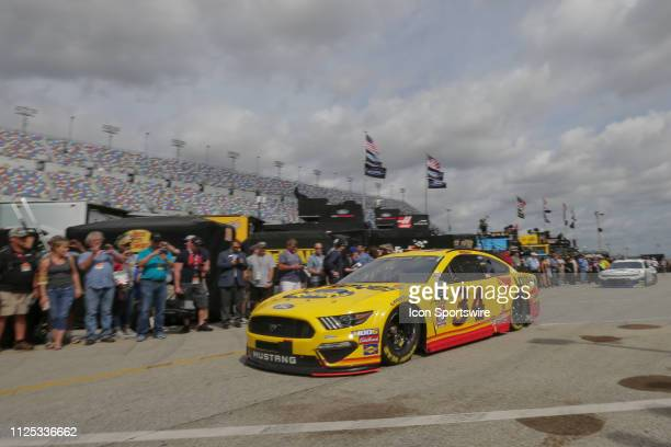 Michael McDowell driver of the Front Row Motorsports Love's Travel Stops Ford Mustang during final practice for the Daytona 500 on February 16 2019...