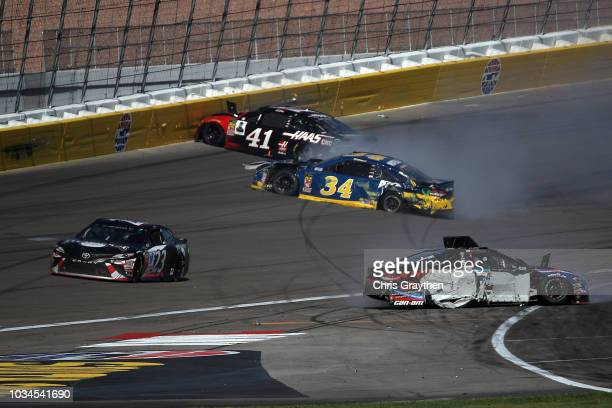 Michael McDowell driver of the Speedco/Rotella Ford crashes during the Monster Energy NASCAR Cup Series SouthPoint 400 at Las Vegas Motor Speedway on...