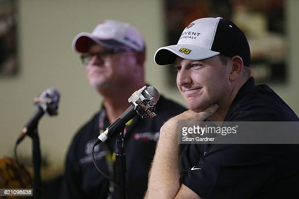 Michael McDowell driver of the Thrivent Financial Chevrolet and former Major League Baseball player Jim Morris speak to the media during a press...