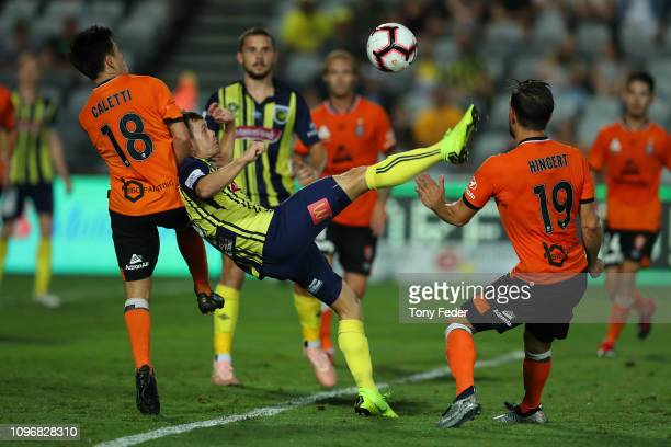 Michael McGlinchey of the Central Coast Mariners tries to kick the ball overhead during the round 14 A-League match between the Central Coast...