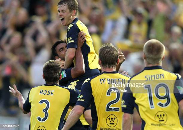 Michael McGlinchey of the Mariners celebrates a goal during the round 12 ALeague match between the Central Coast Mariners and Perth Glory at...