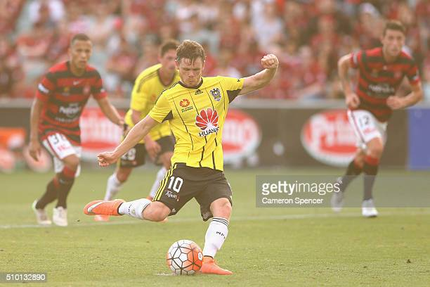 Michael McGlinchey of the Phoenix kicks a penalty goal during the round 19 ALeague match between the Western Sydney Wanderers and the Wellington...