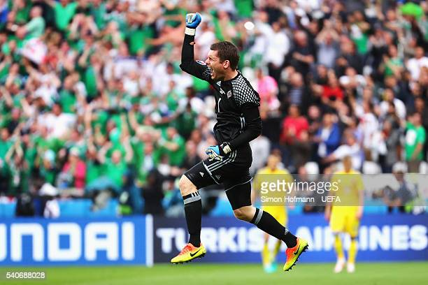 Michael McGovern of Northern Ireland celebrates his team's second goal during the UEFA EURO 2016 Group C match between Ukraine and Northern Ireland...