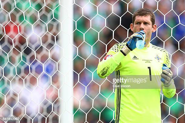 Michael McGovern of Northern Ireland drinks water during the UEFA EURO 2016 Group C match between Northern Ireland and Germany at Parc des Princes on...